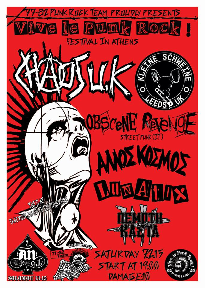 VIVE LE PUNK ROCK WITH: CHAOS UK / KLEINE SCHWEINE / OBSENE REVENGE