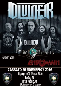 DIVINER - TIDAL DREAMS - ENDOMAIN Live at Agrinio Metal Union Club